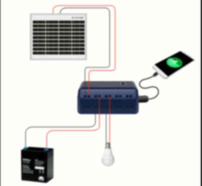 How to setup solar panel controller and battery for charging phone